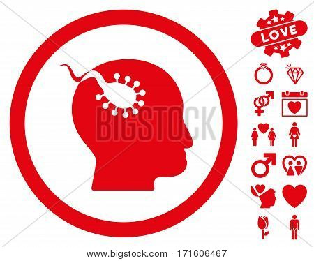 Brain Parasite pictograph with bonus love graphic icons. Vector illustration style is flat iconic red symbols on white background.