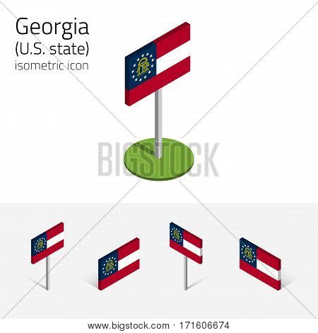 Flag of Georgia (State of Georgia, USA), vector set of isometric flat icons, 3D style, different views. Editable design element for banner, website, presentation, infographic, poster, map