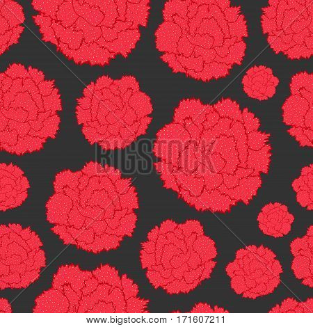 Seamless pattern of stylized simplified flowers Carnations. Beautiful graphics floral silhouettes. Vector illustration
