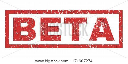 Beta text rubber seal stamp watermark. Tag inside rectangular shape with grunge design and dust texture. Horizontal vector red ink sign on a white background.