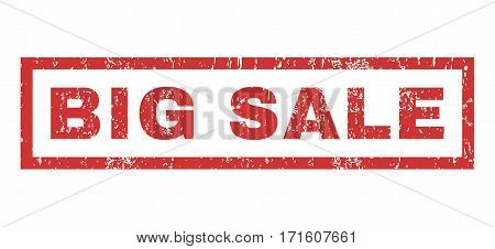 Big Sale text rubber seal stamp watermark. Tag inside rectangular banner with grunge design and scratched texture. Horizontal vector red ink sign on a white background.