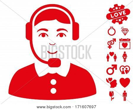 Call Center Operator pictograph with bonus dating graphic icons. Vector illustration style is flat iconic red symbols on white background.