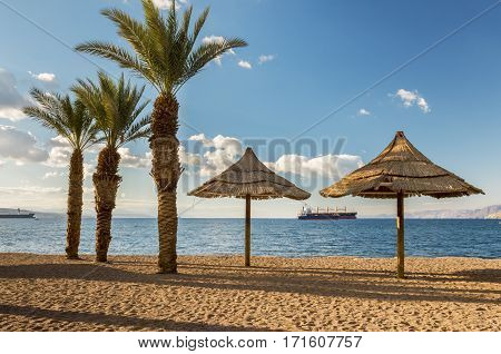 Central public beach of Eilat - famous resort and recreation city in Israel