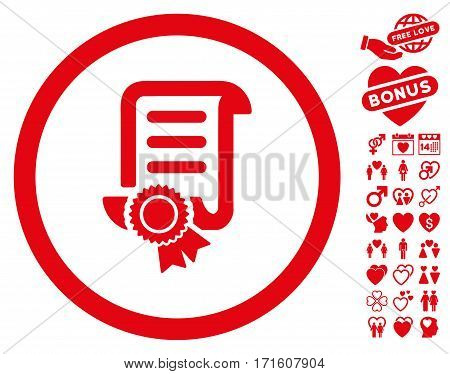 Certified Scroll Document icon with bonus lovely images. Vector illustration style is flat iconic red symbols on white background.