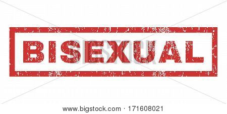 Bisexual text rubber seal stamp watermark. Tag inside rectangular banner with grunge design and dust texture. Horizontal vector red ink sign on a white background.
