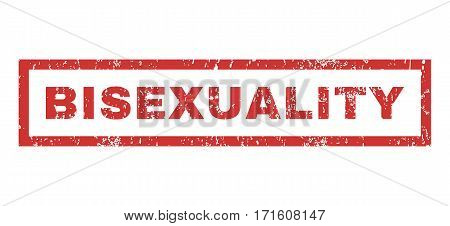 Bisexuality text rubber seal stamp watermark. Caption inside rectangular banner with grunge design and unclean texture. Horizontal vector red ink emblem on a white background.