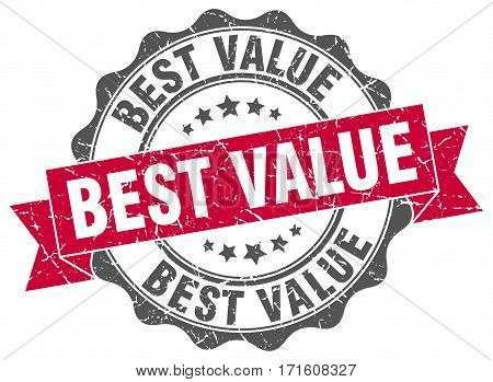 best value. stamp. sign. seal. round. retro. ribbon