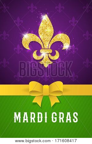 Mardi gras brochure. Fat tuesday logo with golden lily symbol. Greeting card with shining beads on traditional purple background