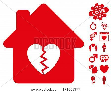 Divorce House Heart pictograph with bonus decorative pictograms. Vector illustration style is flat iconic red symbols on white background.