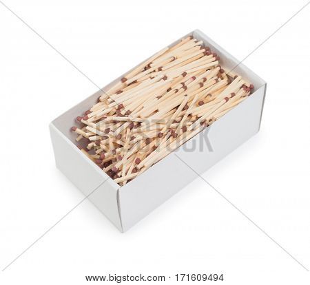 Box with matches isolated on white