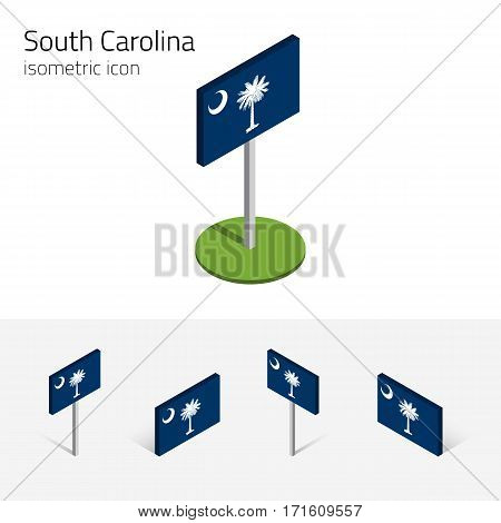Flag of South Carolina (State of South Carolina, USA), vector set of isometric flat icons, 3D style, different views. Editable design element for banner, website, collage, infographic, map
