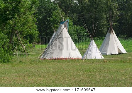 Close-up of an Indian tipi on a field