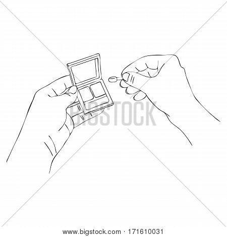 vector hands with eye shadow box, line drawing make-up isolated symbol at white background