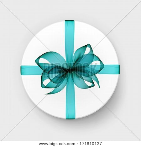 Vector White Round Gift Box with Transparent Light Blue Turquoise Bow and Ribbon Top View Close up Isolated on Background