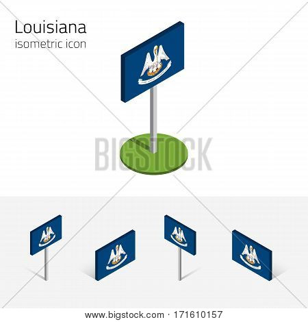 Flag of Louisiana (State of Louisiana, USA), vector set of isometric flat icons, 3D style, different views. Editable design element for banner, website, presentation, infographic, poster, map. Eps 10