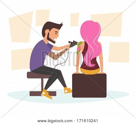 Tattoo master making tattoo to woman with the pink hair. Vector illustration. Cartoon character. Vector art on a white background.