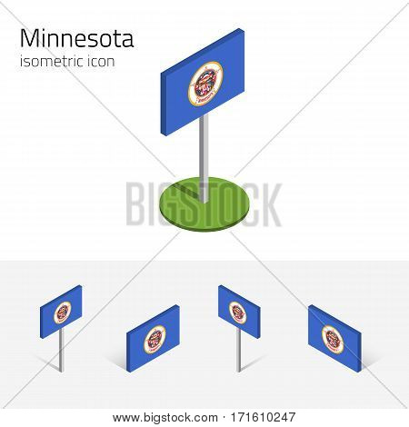 Flag of Minnesota (State of Minnesota, USA), vector set of isometric flat icons, 3D style, different views. Editable design element for banner, website, presentation, infographic, poster, map, collage