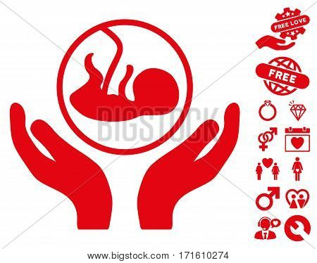 Embryo Care Hands pictograph with bonus lovely clip art. Vector illustration style is flat iconic red symbols on white background.