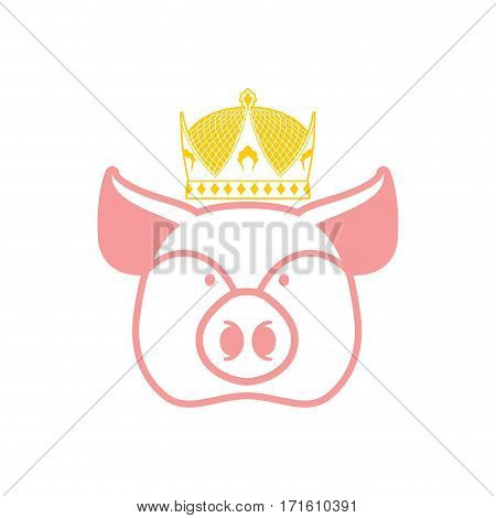 Royal Pork. Pig In Crown. Sign For Meat Production
