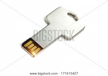 key electronic with a microchip Close up on a white background