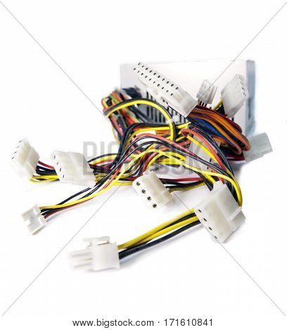 Computer cables with sockets,Still-life on a white background