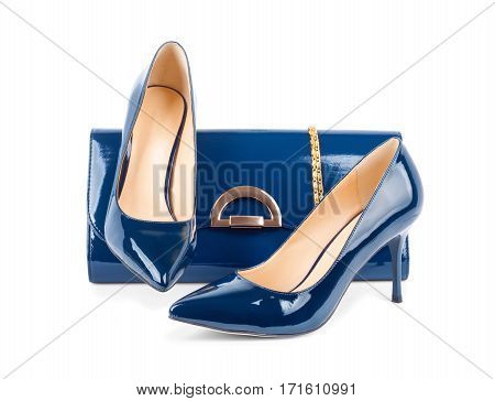 Beautiful Blue Shoes With Clutches On Isolated Background