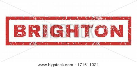 Brighton text rubber seal stamp watermark. Caption inside rectangular banner with grunge design and unclean texture. Horizontal vector red ink sign on a white background.