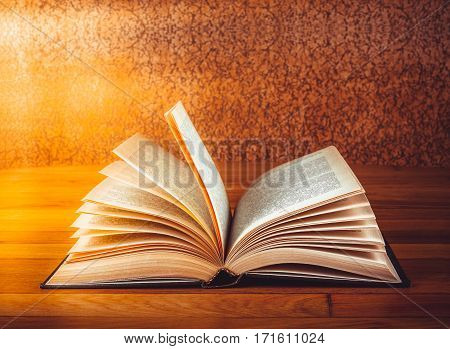 Old open book on grunge wooden table