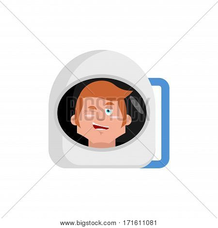 Astronaut Winks Emoji. Cosmonaut Happy Emotion Isolated