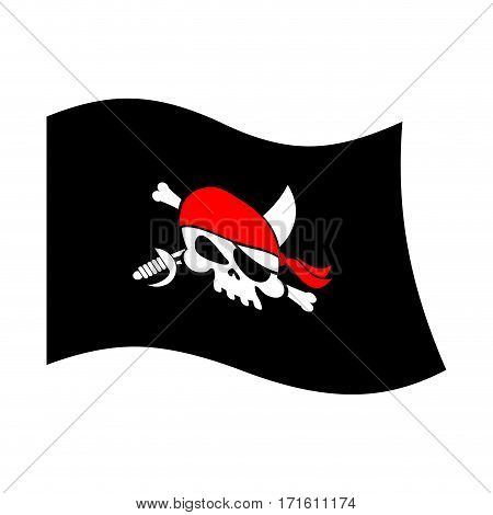 Pirate Flag Skull And Crossbones. Piratical Black Banner Isolated