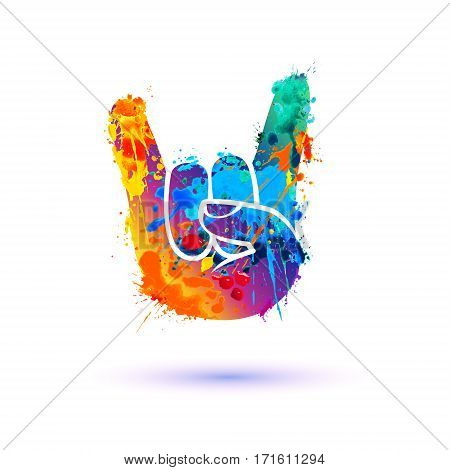 Rock. Hand sign of the horns. Splash paint icon