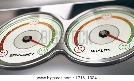3D illustration of two dials with needle pointing the maximum quality and efficiency Business or Marketing concept of customer relationship management CRM.