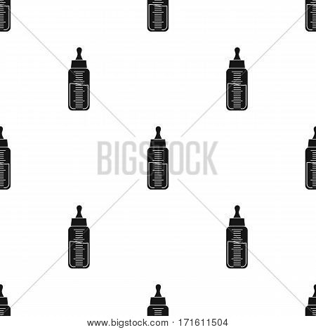 Baby bottle icon in black style isolated on white background. Baby born pattern vector illustration.