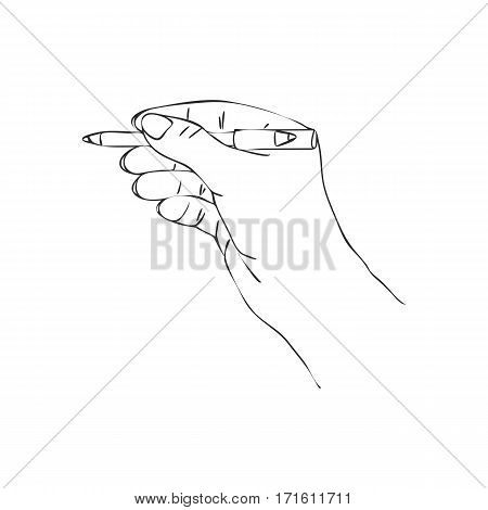 vector hand with cosmetic pencil, line drawing make-up isolated symbol at white background