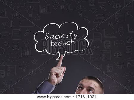 Business, Technology, Internet And Marketing. Young Businessman Thinking About: Security Breach