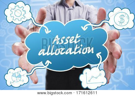 Business, Technology, Internet And Marketing. Young Businessman Thinking About: Asset Allocation