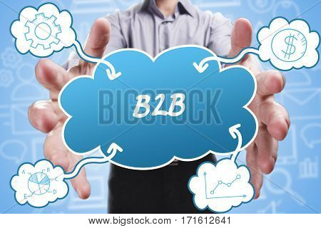 Business, Technology, Internet And Marketing. Young Businessman Thinking About: B2B