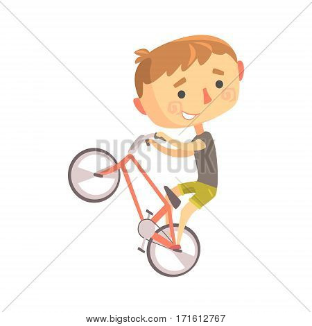 Boy BMX Bike Rider, Kids Future Dream Professional Occupation Illustration . Smiling Child Carton Character With Career Attributes Vector Drawing.