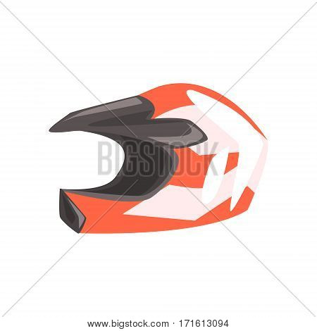 Head Protective Hard Helmet, Part Of BMX Rider Ammunition And Equipment Set Isolated Object. Cartoon Realistic Sport Related Item Vector Illustration