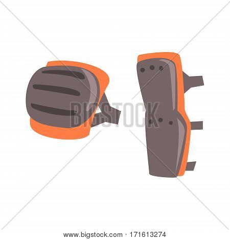 Knee And Leg Protection Shields, Part Of BMX Rider Ammunition And Equipment Set Isolated Object. Cartoon Realistic Sport Related Item Vector Illustration