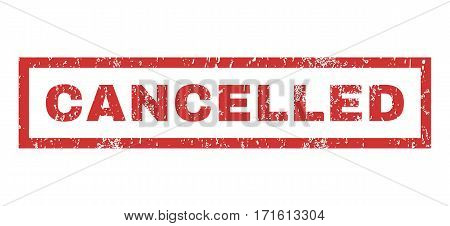Cancelled text rubber seal stamp watermark. Tag inside rectangular shape with grunge design and unclean texture. Horizontal vector red ink emblem on a white background.