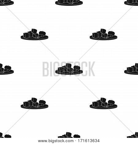 Diced cheese feta with tomatoes and olives on the cutting board icon in black style isolated on white background. Greece pattern vector illustration.
