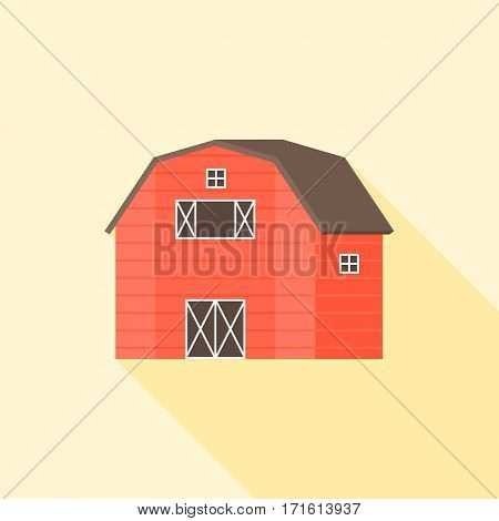 wooden red barn vector icon, flat design