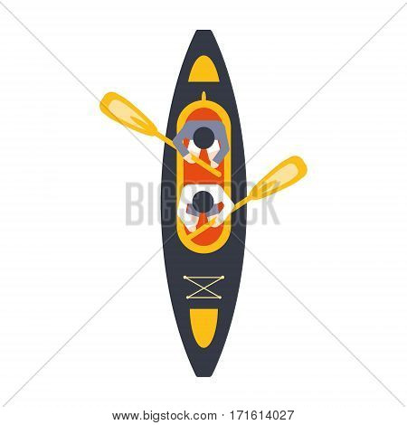 Kayak For Two Person With Peddles From Above, Part Of Boat And Water Sports Series Of Simple Flat Vector Illustrations. River Boating Sportive Equipment Piece Isolated Item On White Background.