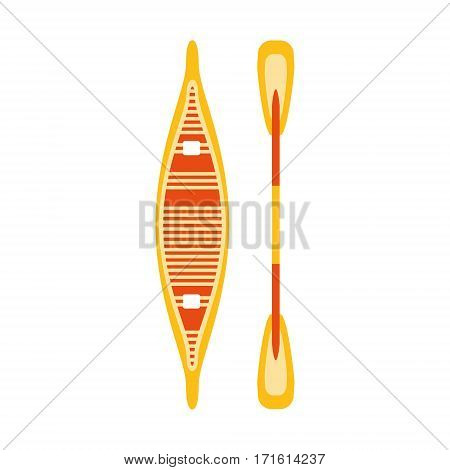 Yellow And Red Woden Canoe With Peddle, Part Of Boat And Water Sports Series Of Simple Flat Vector Illustrations. River Boating Sportive Equipment Piece Isolated Item On White Background.