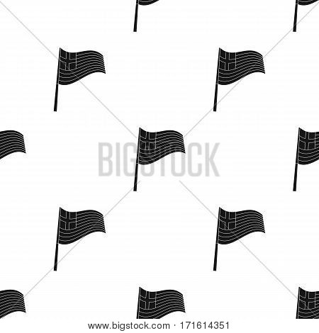 Greek flag icon in black style isolated on white background. Greece pattern vector illustration.