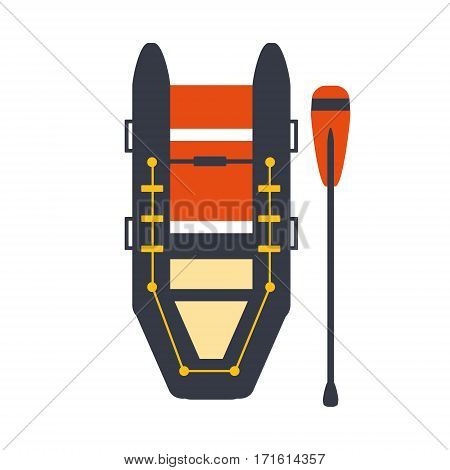 Grey And Red Inflatable Raft With One Peddle, Part Of Boat And Water Sports Series Of Simple Flat Vector Illustrations. River Boating Sportive Equipment Piece Isolated Item On White Background.