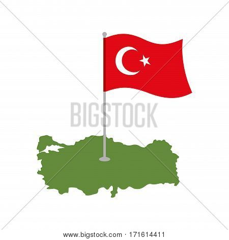 Turkey Map And Flag. Turkish Banner And Land Area. State Patriotic Sign