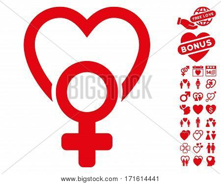 Female Love pictograph with bonus valentine clip art. Vector illustration style is flat iconic red symbols on white background.