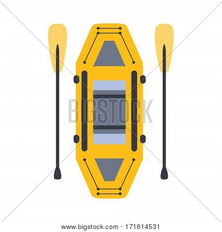 Yellow Inflatable Raft With Two Peddles, Part Of Boat And Water Sports Series Of Simple Flat Vector Illustrations. River Boating Sportive Equipment Piece Isolated Item On White Background.
